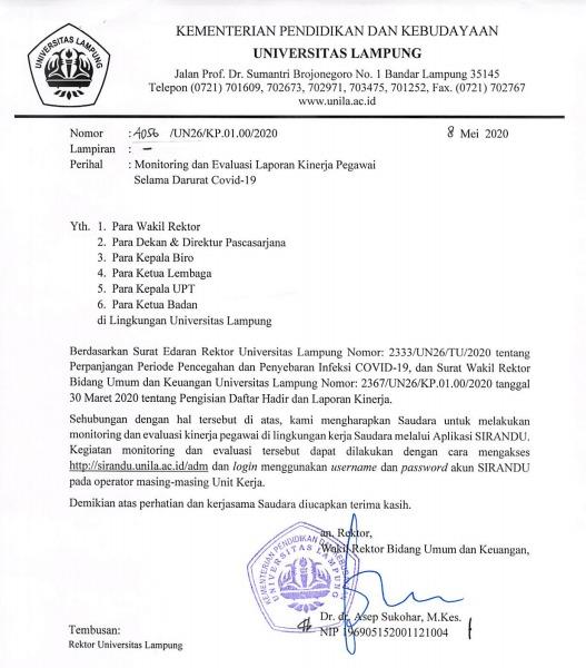 Monitoring Dan Evaluasi Laporan Kinerja Pegawai Selama Darurat Covid 19 Upt Teknologi Informasi Dan Komunikasi Universitas Lampung