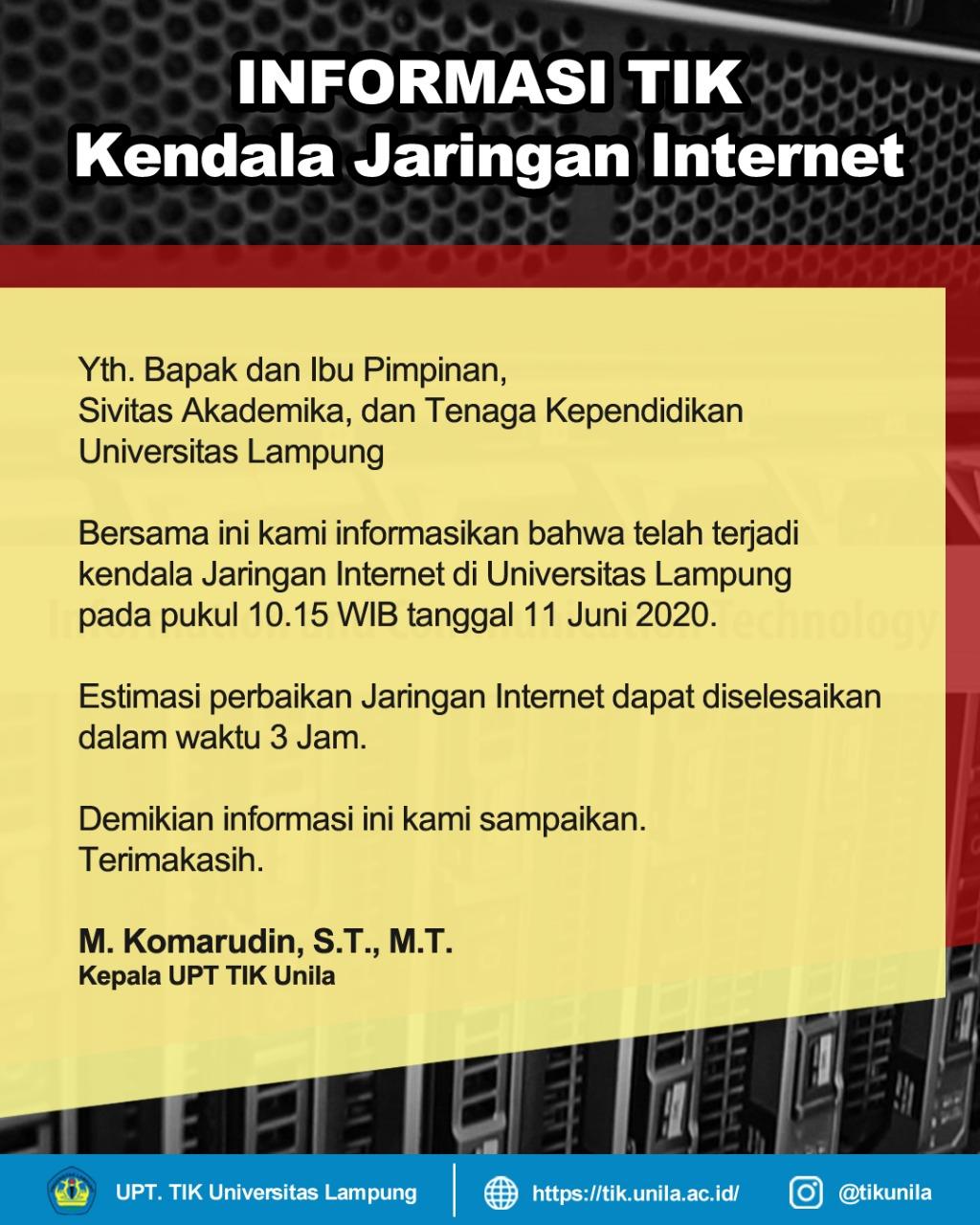 Kendala Jaringan Internet Unila