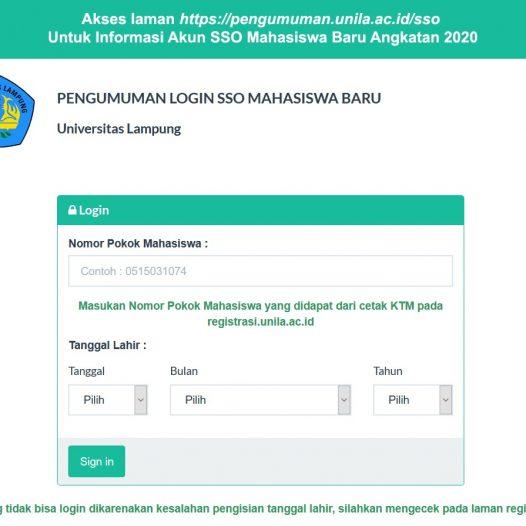 Informasi Akun SSO Mahasiswa Baru Universitas Lampung 2020